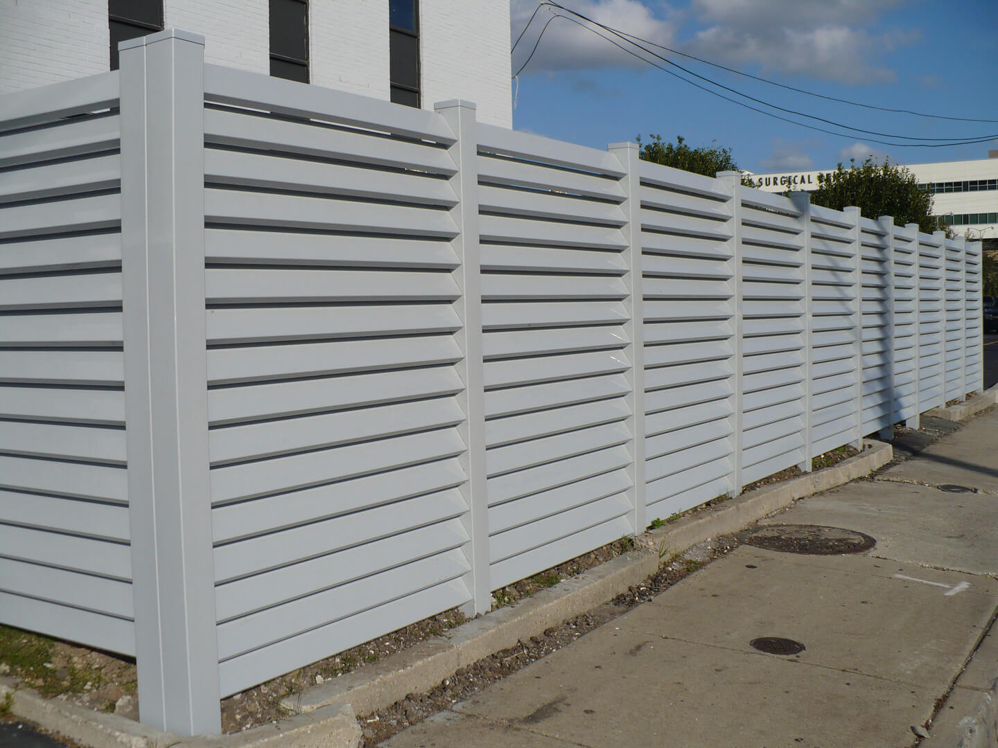 Gray 8' tall Louvered Fence