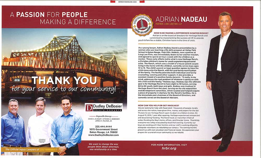 News: Adrian Nadeau recognized for his community service - Long Law Firm, LLP - Baton Rouge, Louisiana