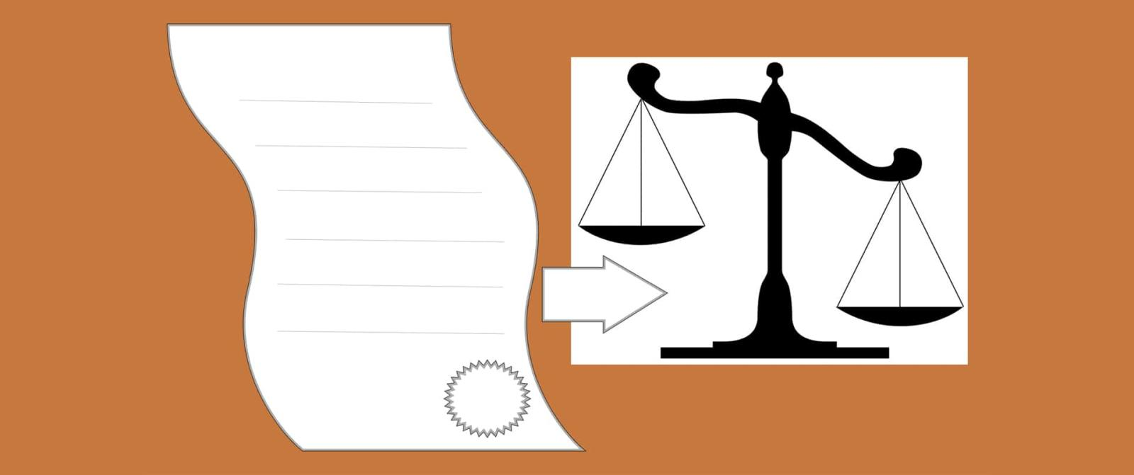 graphic of a bill and legal scales