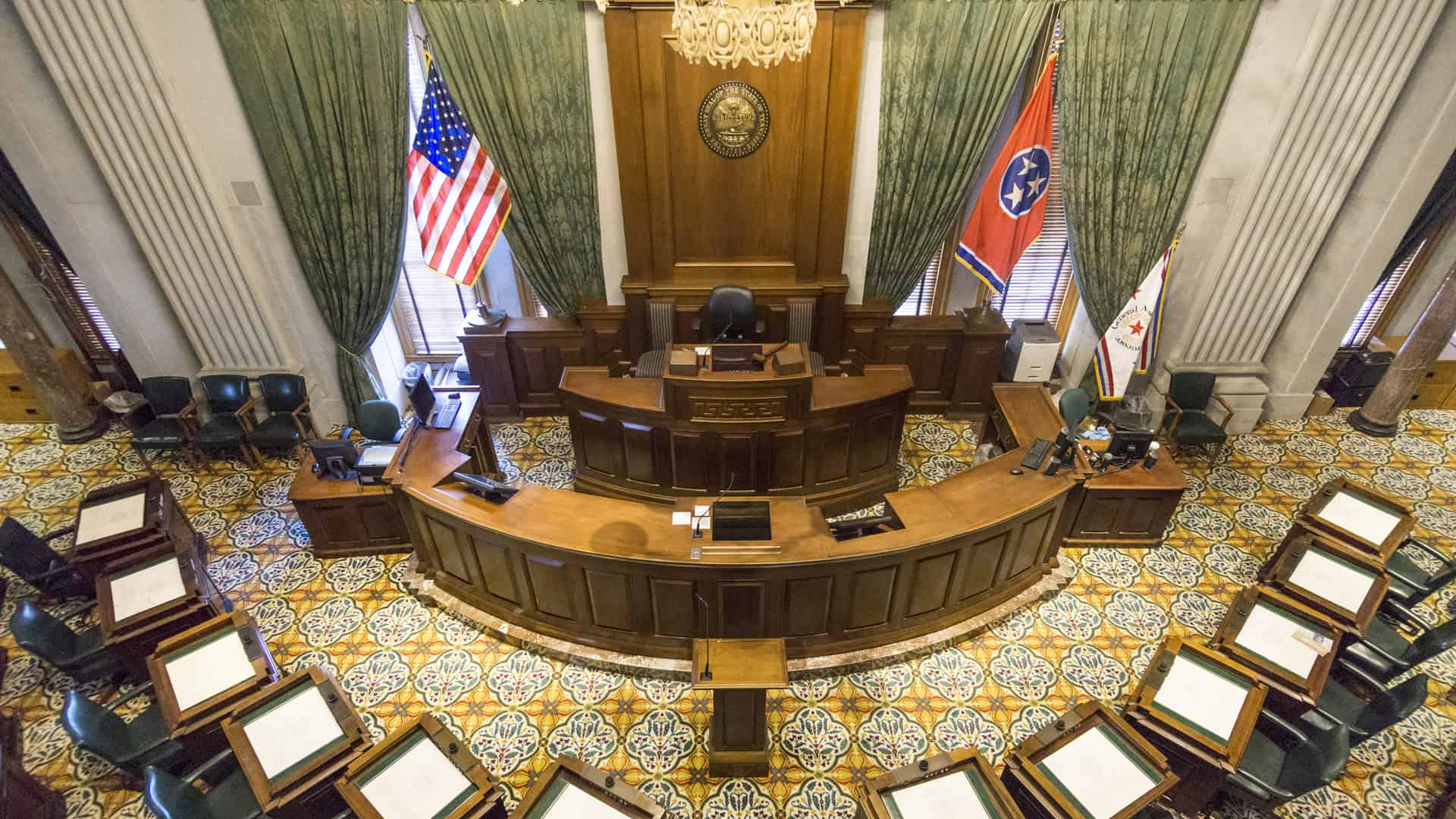 TN State Capitol Senate Chamber, Photo Credit: CC BY-SA 4.0 Wikimedia Commons by Kenneth C. Zirkel, October 2016