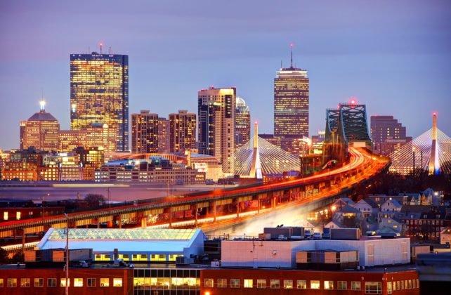 Boston Massachusetts night skyline