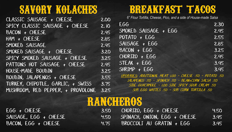 Menu The Kolache Kitchen Baton Rouge New Orleans Louisiana