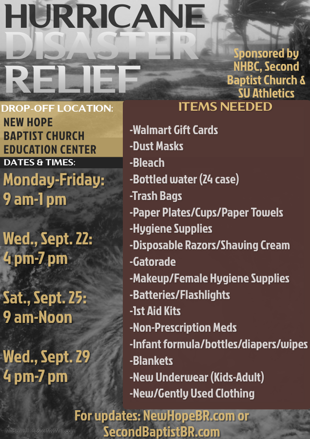 New Hope Hurricane Disaster Relief Flyer