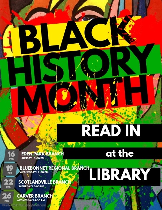 Black History  Library Read-In Flyer