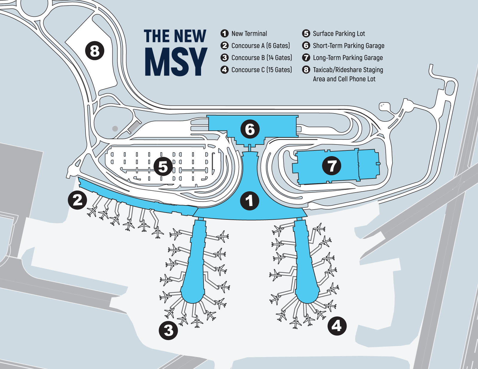 map of new orleans airport The Facility The New Msy Get Updates map of new orleans airport