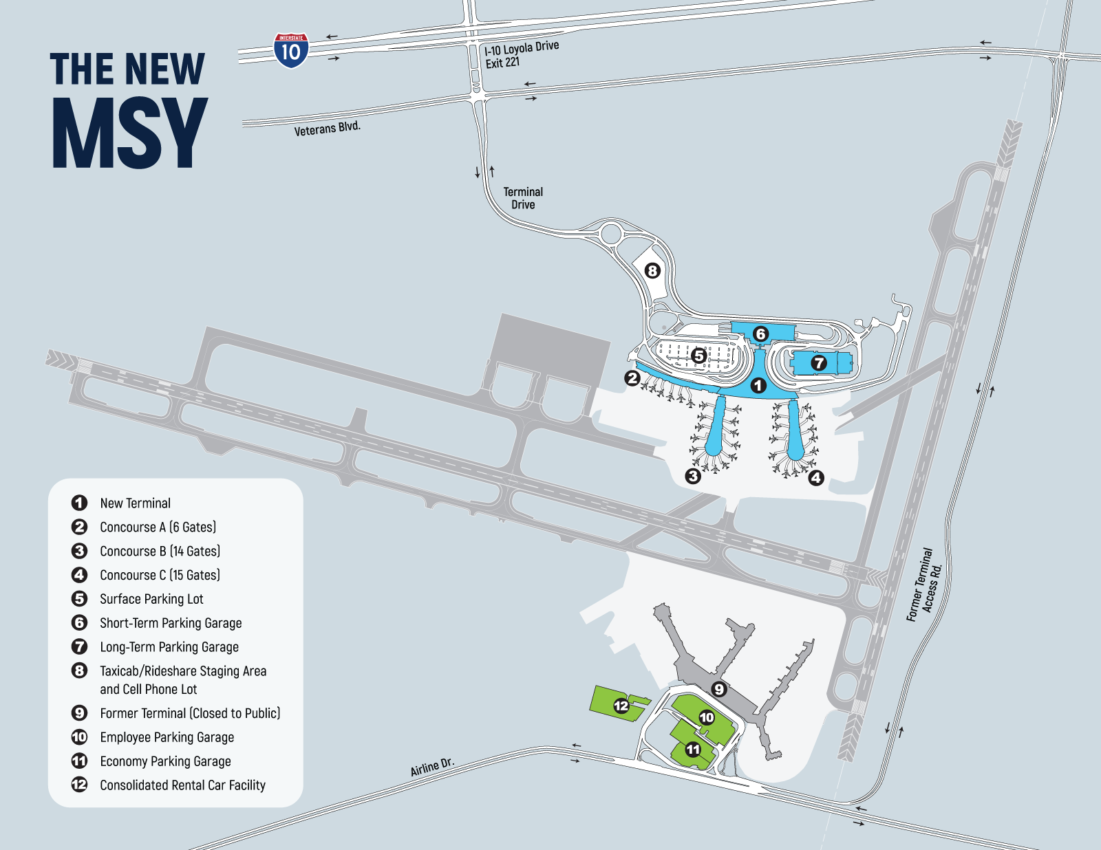 MSY Access & Parking Map