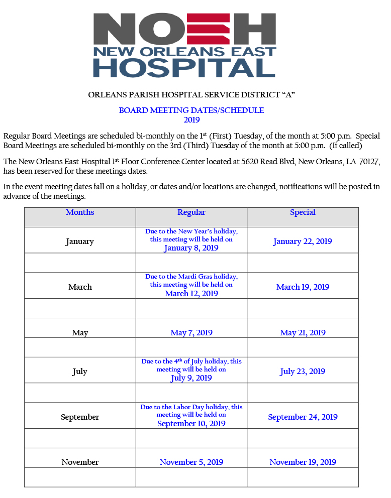 2019-HOSPITAL-BOARD-MEETING-SCHEDULE-BI-MONTHLY