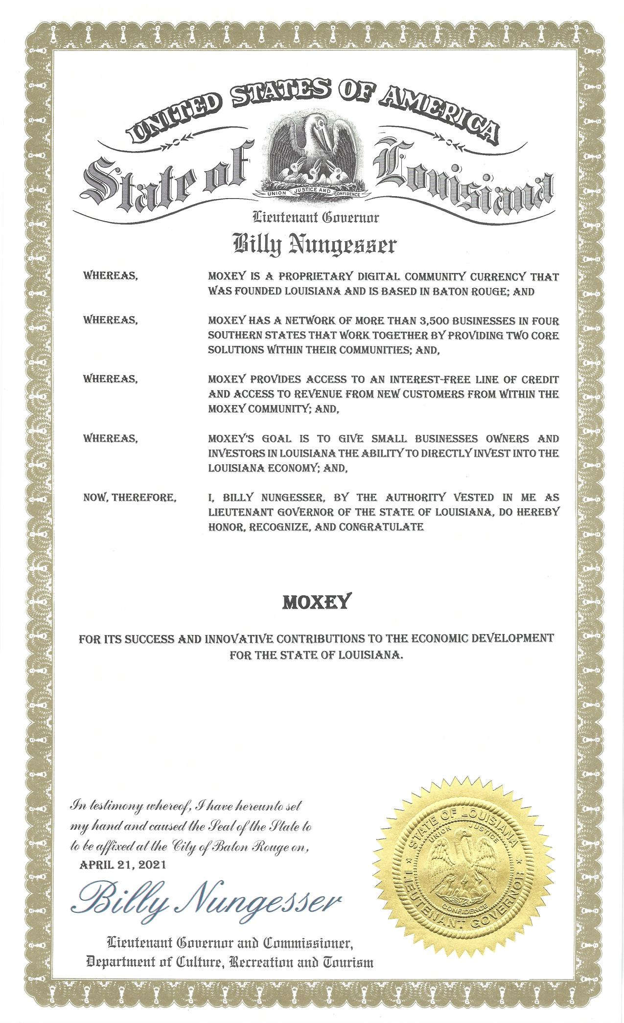 LA Lt. Governor Proclamation - Moxey