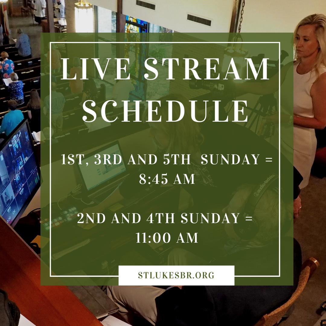 Live stream schedule